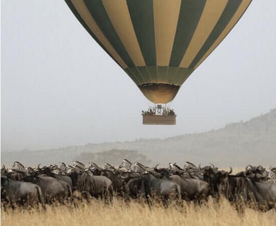 Luchtballon safari in de serengeti , tanzania