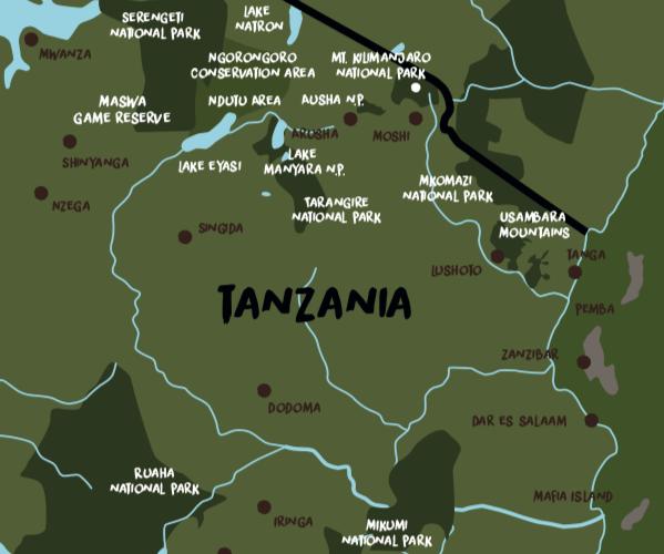 Landkaart van Tanzania